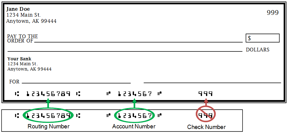 Picture of bank routing number location on a check