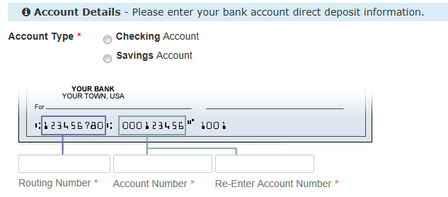 Sample check showing location of routing number and account number for PFD direct deposit